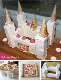 Kuva ja ohjeet: Linnakakku prinsessajuhliin, syntymäpäiväkakku jäätelöstä